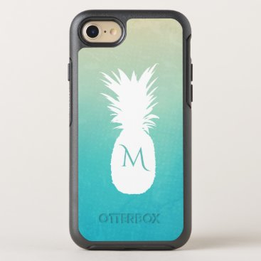 Beach Themed Tropical Pineapple Watercolor Monogram OtterBox Symmetry iPhone 7 Case