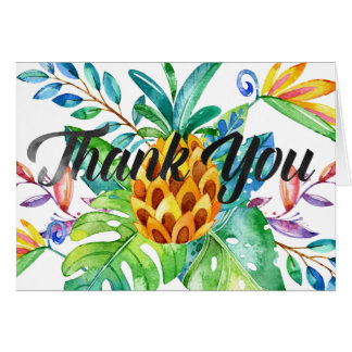 Tropical Pineapple Watercolor Thank You Note Card