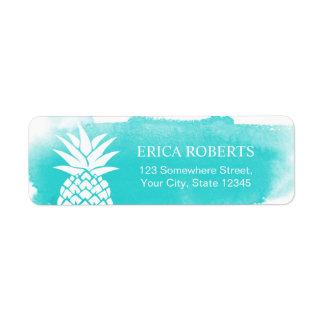 Tropical Pineapple Watercolor Turquoise Hawaiian Label