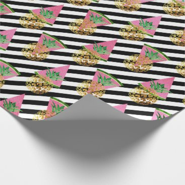 Beach Themed Tropical pineapple watermelon gold black stripes wrapping paper