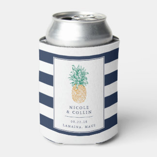 Tropical Pineapple Wedding Favor Can Cooler