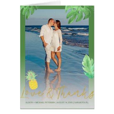 Beach Themed Tropical pineapple wedding green thank you photo card