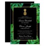 Tropical Pineapple Wedding Invitation Black & Gold