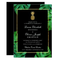 Tropical Pineapple Wedding Invitation Black & Gold