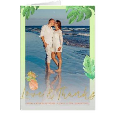 Beach Themed Tropical pineapple wedding peachy thank you photo card