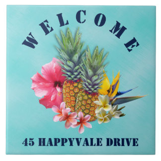 Tropical Pineapple Welcome House Address Ceramic Tile