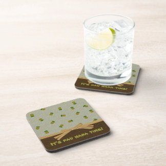 Tropical Pineapples and Brown Customizable Name Coaster