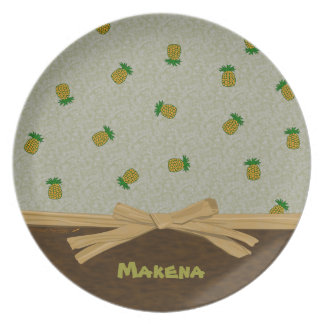 Tropical Pineapples and Brown Customizable Name Dinner Plate