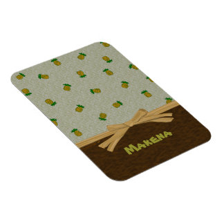 Tropical Pineapples and Brown Customizable Name Rectangular Photo Magnet