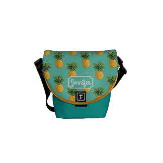 Tropical Pineapples On Teal | Add Your Name Messenger Bag