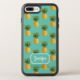 Tropical Pineapples On Teal | Add Your Name OtterBox Symmetry iPhone 7 Plus Case