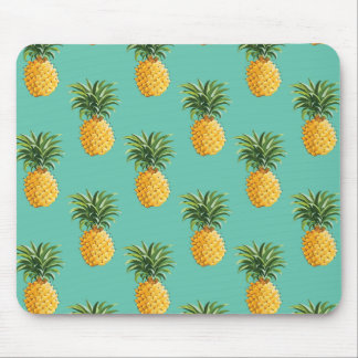 Tropical Pineapples On Teal Mouse Pad