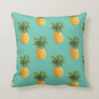 Tropical Pineapples On Teal Throw Pillow