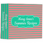 Tropical Pink and Green Stripe Personalized Recipe Binder
