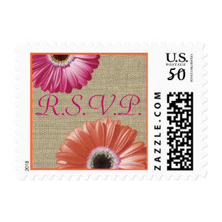 Tropical Pink and Orange Daisy and Burlap Wedding Postage