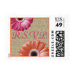 Tropical Pink and Orange Daisy and Burlap Wedding Postage Stamp