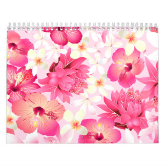 Tropical pink and white flowers calendar