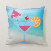 Tropical Pink & Blue Cocktail Abstract Sea Throw Pillow