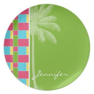 Tropical Pink, Blue, Green, & Yellow Dinner Plate