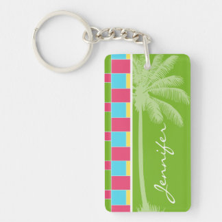 Tropical Pink, Blue, Green, & Yellow Keychain