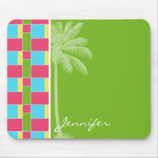 Tropical Pink, Blue, Green, & Yellow Mouse Pad