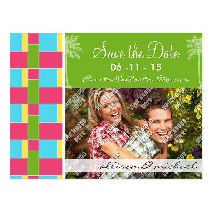 Tropical Pink, Blue, Green, & Yellow Postcard