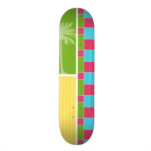 Tropical Pink, Blue, Green, & Yellow Skate Deck