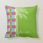 Tropical Pink, Blue, Green, & Yellow Throw Pillow