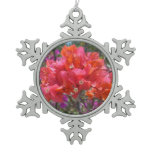 Tropical Pink Bougainvillea Snowflake Pewter Christmas Ornament