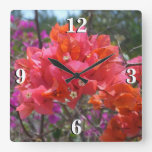 Tropical Pink Bougainvillea Square Wall Clock