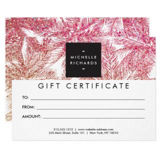 Tropical Pink/Bronze Glitter Palms Gift Card