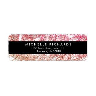 Tropical Pink/Bronze Glitter Palms Label