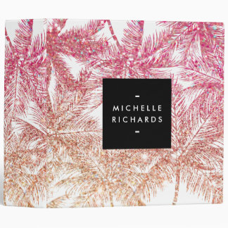 Tropical Pink/Bronze Glitter Palms Personalized Binder