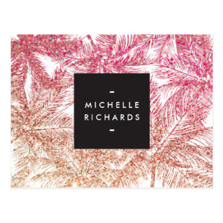 Tropical Pink/Bronze Glitter Palms Postcard