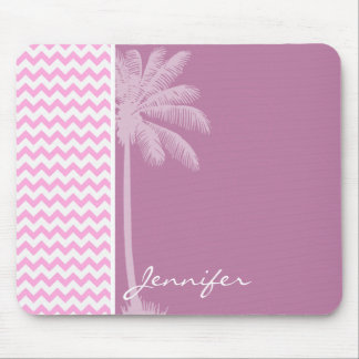 Tropical Pink Chevron Pattern Mouse Pad