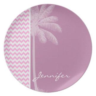 Tropical Pink Chevron Pattern Party Plates