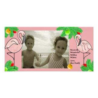 Tropical Pink Christmas/ Photo Greeting Card