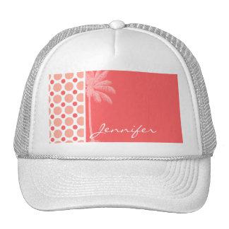 Tropical Pink & Coral Polka Dots Trucker Hats