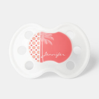 Tropical Pink Coral Polka Dots Pacifiers