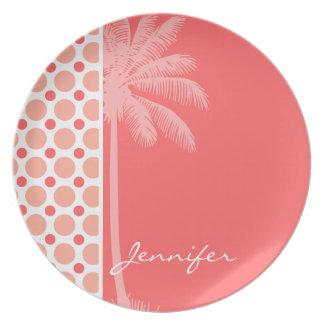 Tropical Pink & Coral Polka Dots Plate