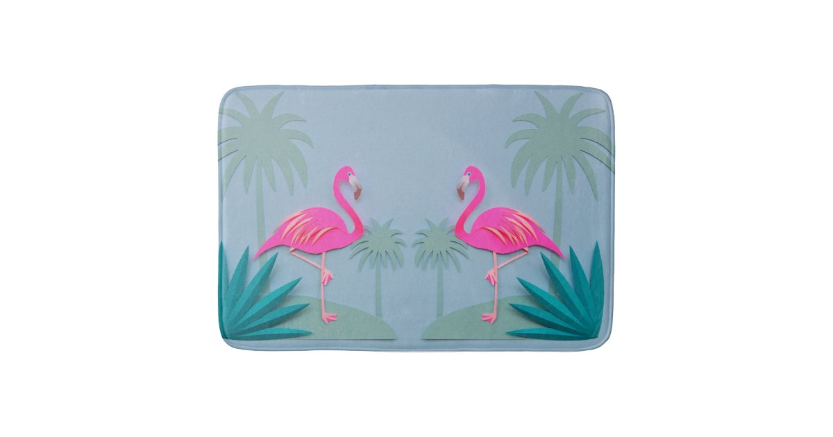 Tropical Pink Flamingo Bathroom Rug Mat Home Decor Zazzle