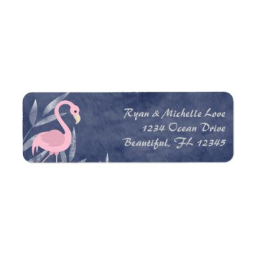 Beach Themed Tropical Pink Flamingo Beach Address Label