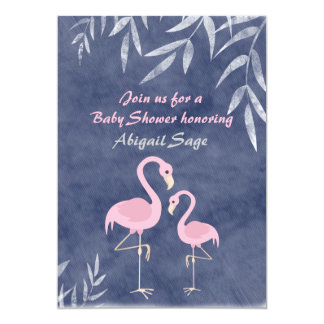 Tropical Pink Flamingo Beach Baby Shower Card