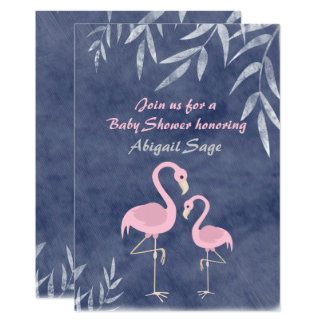 Tropical Pink Flamingo Beach Baby Shower Invite