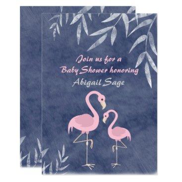 Beach Themed Tropical Pink Flamingo Beach Baby Shower Invite