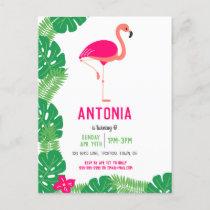 Tropical Pink Flamingo Beautiful Birthday Invitation Postcard
