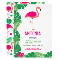 Tropical Pink Flamingo Beautiful Birthday Party Invitation