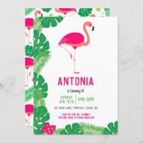 Tropical Pink Flamingo Beautiful Birthday Party Invitation