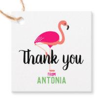 Tropical Pink Flamingo Beautiful Thank You Favor Tags
