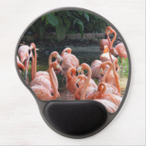 Tropical pink Flamingo birds Gel Mouse Pad